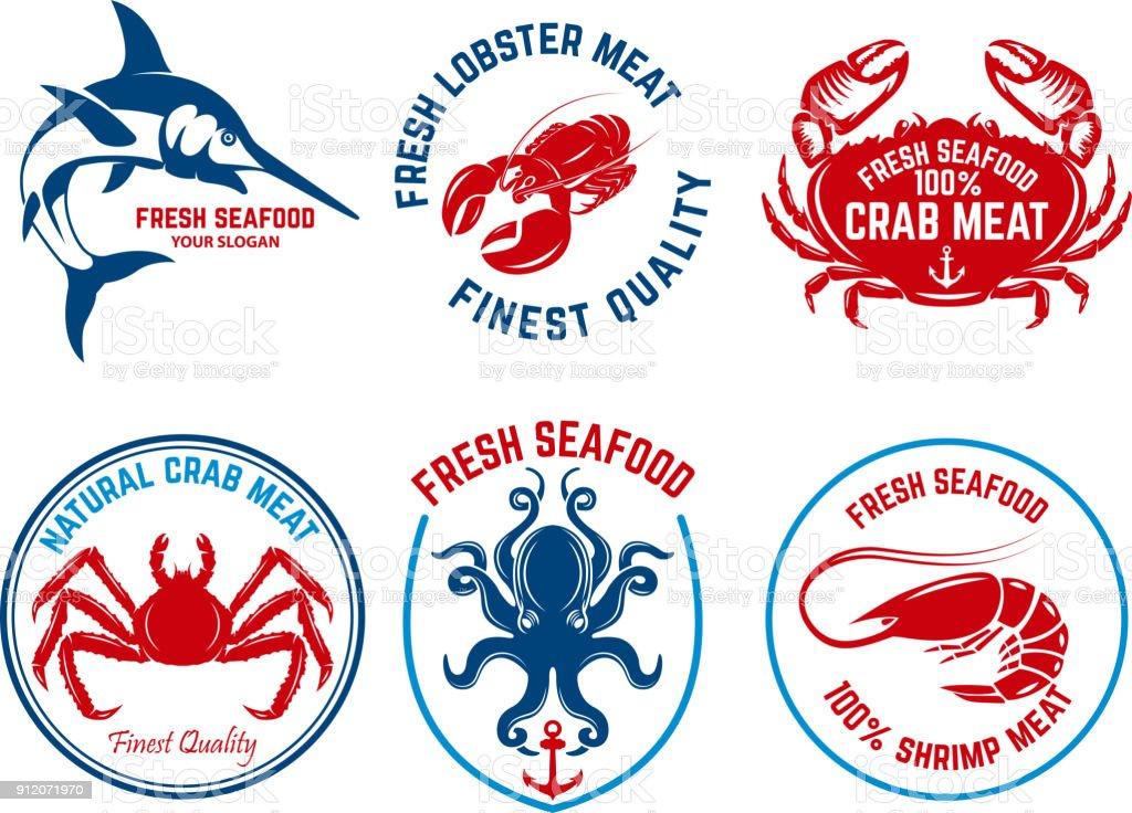 Set of seafood market emblems. Design element for  label, emblem, sign. vector art illustration