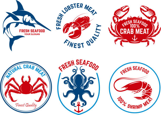 ilustraciones, imágenes clip art, dibujos animados e iconos de stock de conjunto de emblemas del mercado de pescados y mariscos. elemento de diseño para la etiqueta, emblema, signo. - pescado y mariscos