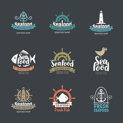 set of seafood symbols for fish shop and restaurants
