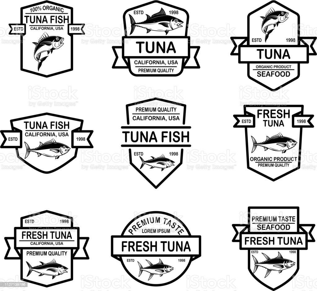 Set of seafood tuna labels. Design element for emblem, sign, poster. vector art illustration