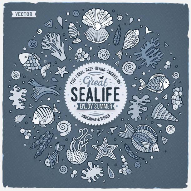 Set von Sealife Cartoon Doodle Objekte, Symbole und Gegenstände – Vektorgrafik