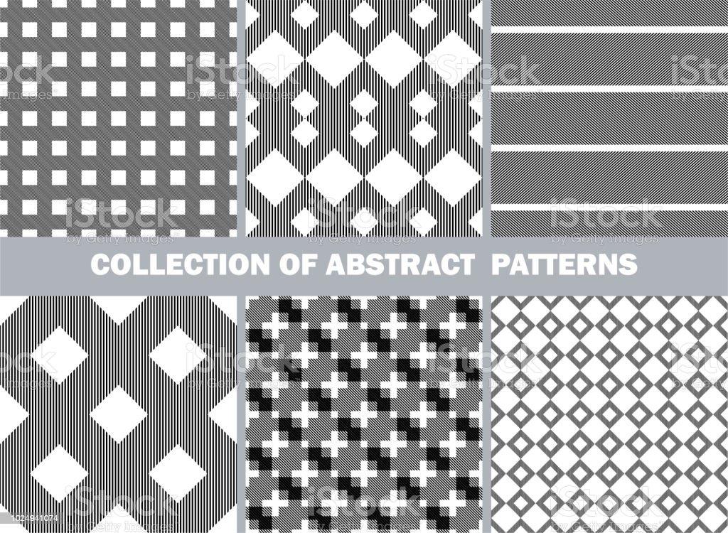 Ilustración de Conjunto De Patrones Abstractos Sin Costura Colección ...