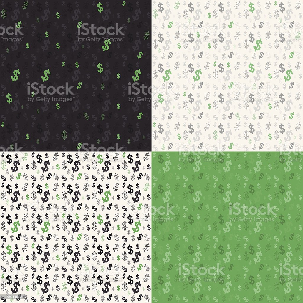 Set of seamless background  currency symbols dollar vector art illustration