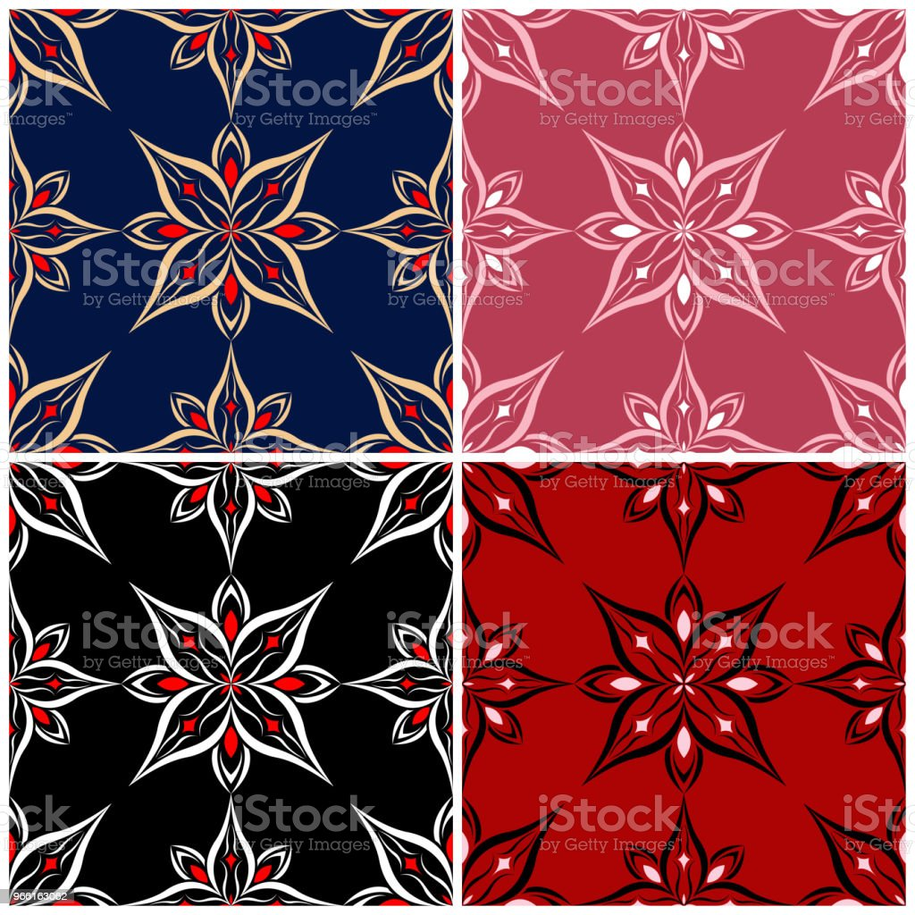 Set of seamless backgrounds with floral patterns - Royalty-free Abstract stock vector