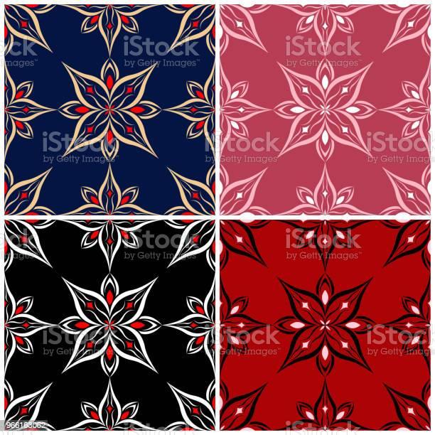Uppsättning Av Sömlösa Bakgrunder Med Blommiga Mönster-vektorgrafik och fler bilder på Abstrakt