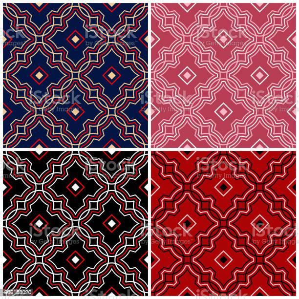 Set Di Sfondi Senza Cuciture Con Motivi Geometrici - Immagini vettoriali stock e altre immagini di Astratto