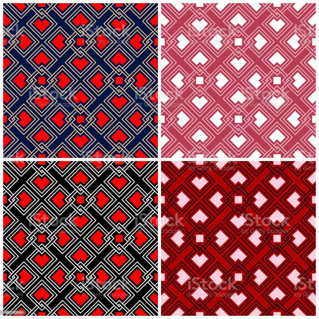 Satz von nahtlose Hintergründe mit geometrischen Mustern - Lizenzfrei Abstrakt Vektorgrafik
