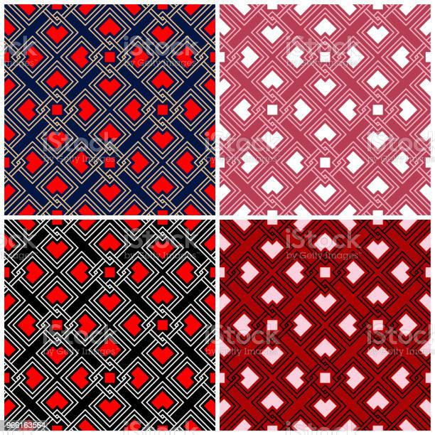 Satz Von Nahtlose Hintergründe Mit Geometrischen Mustern Stock Vektor Art und mehr Bilder von Abstrakt