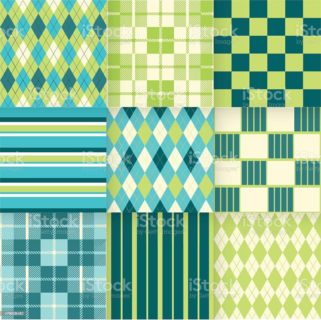 Conjunto de fondos sin costuras con un patrón de rayas, de ajedrez, de cuadros. - ilustración de arte vectorial
