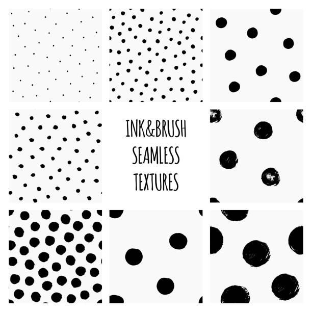 satz von nahtlosen schwarz-weiß vektor texturen mit kreisen, polka dots, trockenen pinsel tinte kunst - hausgemacht stock-grafiken, -clipart, -cartoons und -symbole
