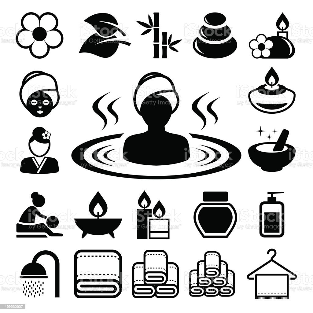 Set of seamless black icons of spa elements vector art illustration