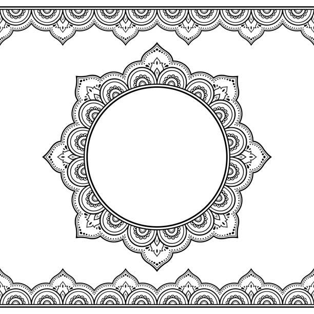 stockillustraties, clipart, cartoons en iconen met set van naadloze randen en circulaire sieraad voor ontwerp, toepassing van henna, mehndi en tattoo. decoratief patroon in etnische oosterse stijl. - hennatatoeage