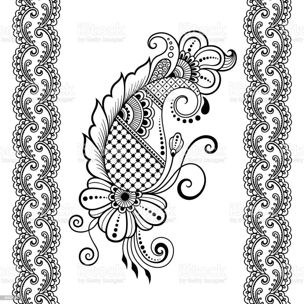 satz von nahtlosen grenzen gestaltungsund einsatzm glichkeiten von henna armband tattoo blume. Black Bedroom Furniture Sets. Home Design Ideas