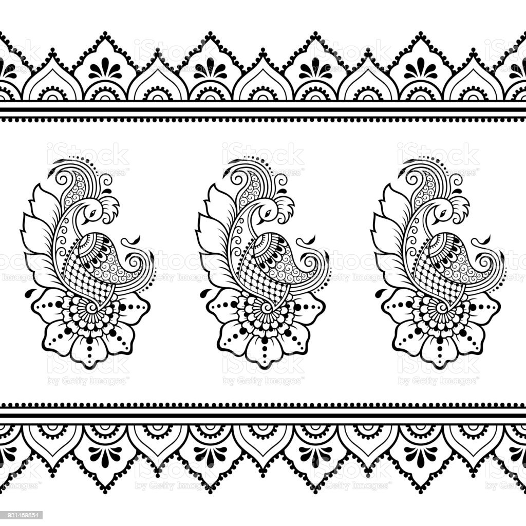 set of seamless borders for design and application of henna bracelet for tattoo flower template. Black Bedroom Furniture Sets. Home Design Ideas
