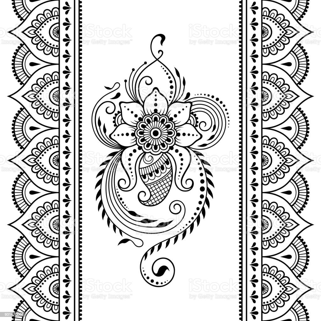 set of seamless borders for design and application of henna bracelet for tattoo flower
