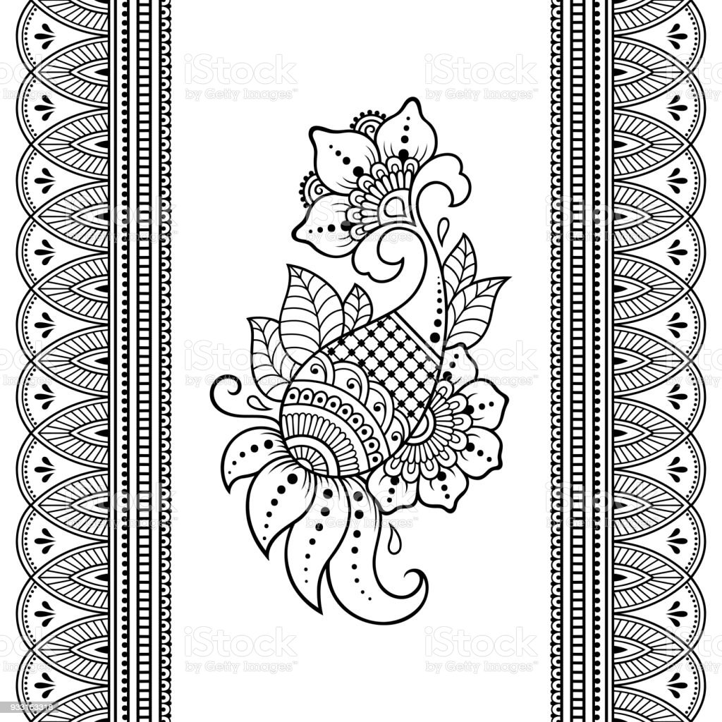 Set Of Seamless Borders For Design And Application Of Henna Bracelet