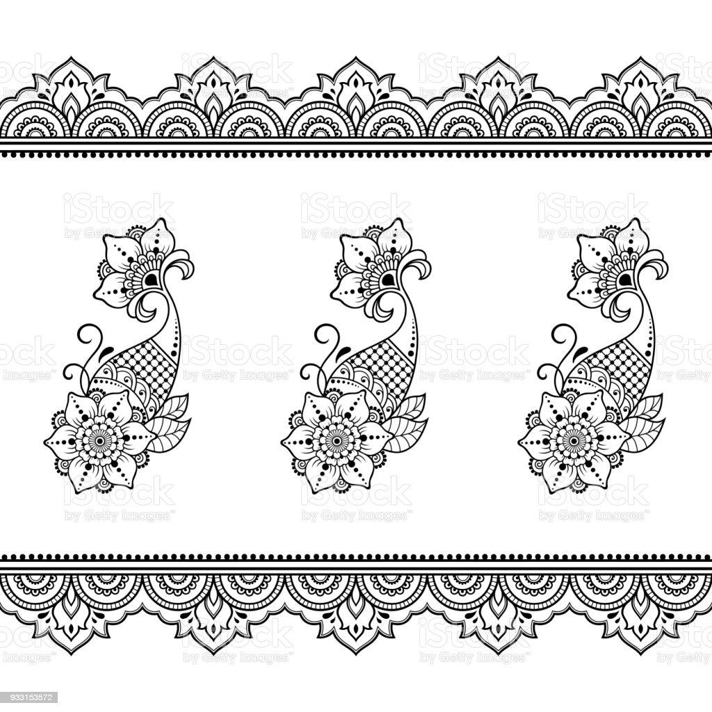 ilustra o de conjunto de fronteiras sem emenda para projeto e aplica o de henna pulseira para. Black Bedroom Furniture Sets. Home Design Ideas