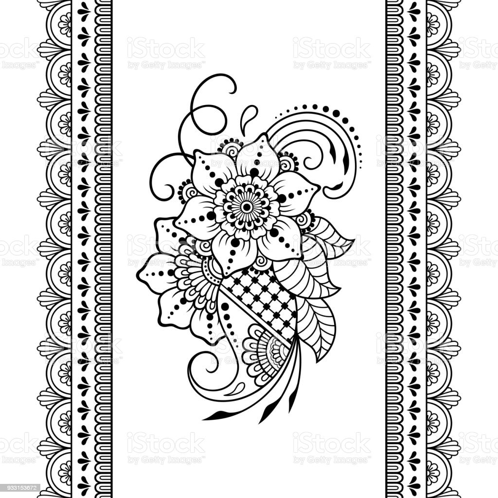 Satz Von Nahtlosen Grenzen Gestaltungsund Einsatzmoglichkeiten Von Henna Armband Tattoo Blume Vorlage Im Mehndistil Satz Von Ornamentalen Mustern Im Orientalischen Stil Stock Vektor Art Und Mehr Bilder Von Abstrakt Istock
