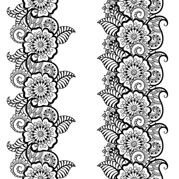 Royalty Free Indian Hand Embroidery Designs Drawings Clip Art
