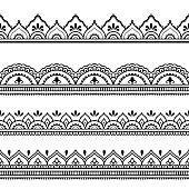 Set of seamless borders for design and application of henna. Mehndi style. Decorative pattern in oriental style.Set of seamless borders for design and application of henna. Mehndi style. Decorative pattern in oriental style.