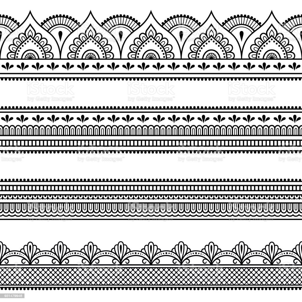 Set of seamless borders for design and application of henna. Mehndi style. Decorative pattern in oriental style. vector art illustration