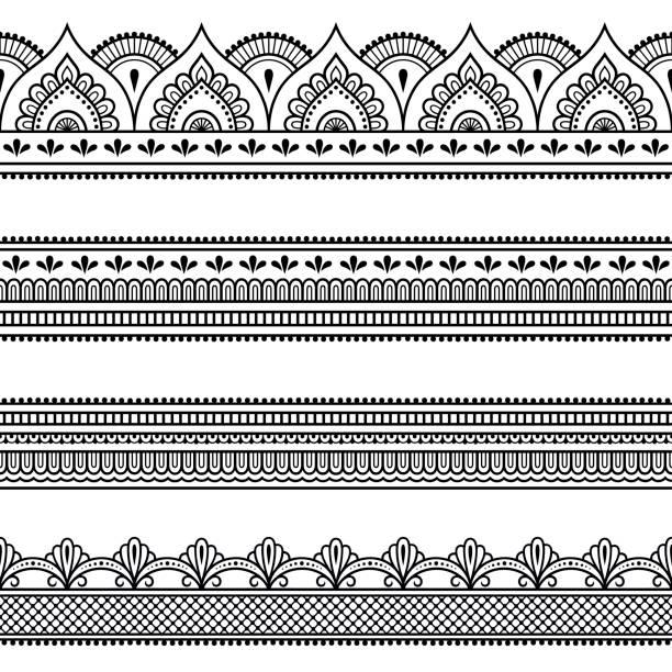 stockillustraties, clipart, cartoons en iconen met set van naadloze randen voor ontwerpen en toepassen van henna. mehndi stijl. decoratief patroon in oosterse stijl. - indiase cultuur