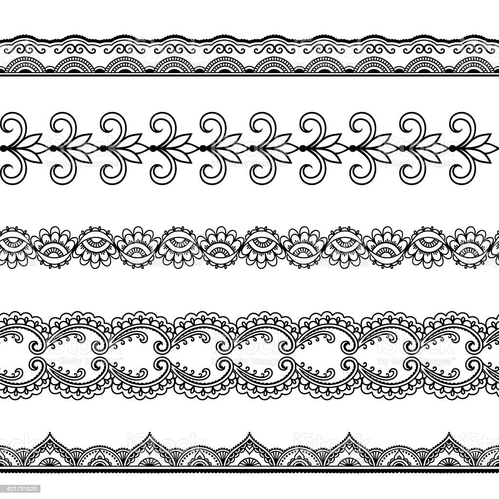 Set of seamless borders for design and application of henna. vector art illustration