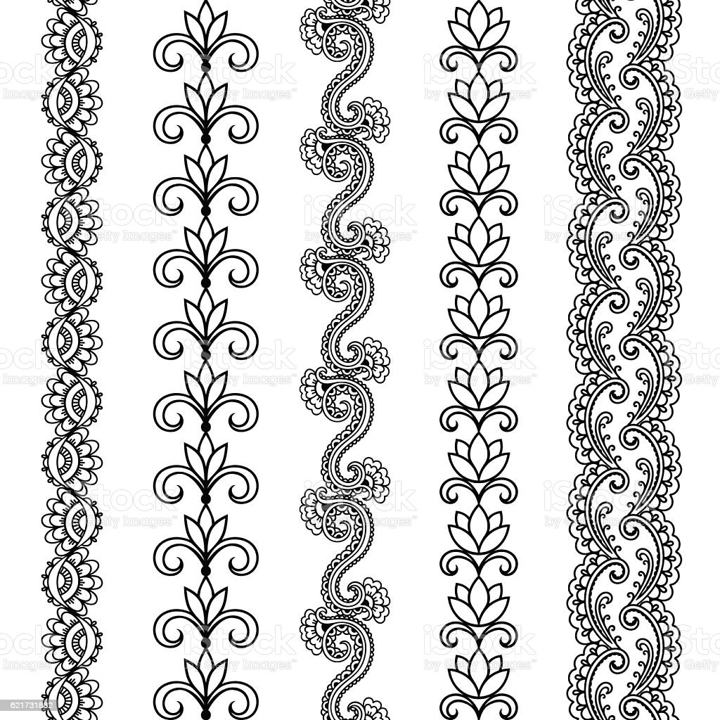 Set Of Seamless Borders For Design And Application Of Henna Stock