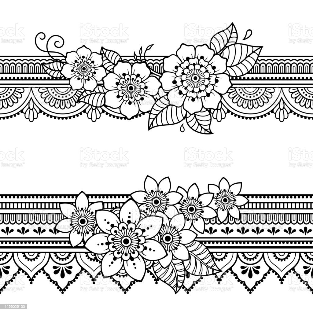 Set Of Seamless Borders Pattern With Mehndi Flower For Henna Drawing And Tattoo Decoration In Ethnic Oriental Indian Style Doodle Ornament Outline Hand Draw Vector Illustration Stock Illustration Download Image Now