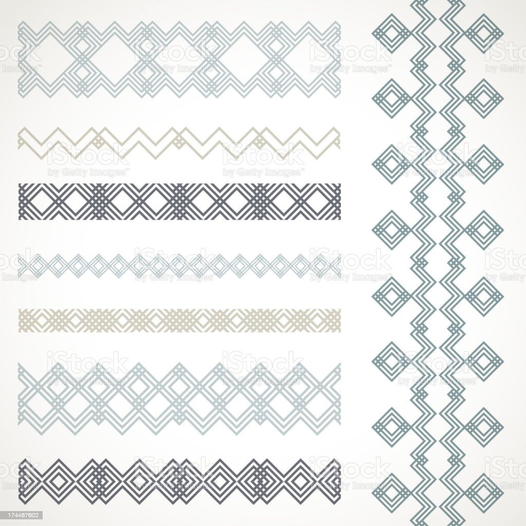 Set of seamless borders. Vector ethnic ornaments. royalty-free stock vector art