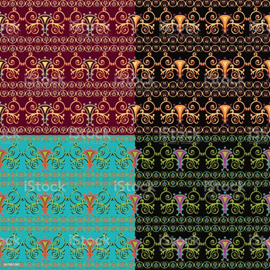 Set of seamless Byzantine patterns of different colors. vector art illustration
