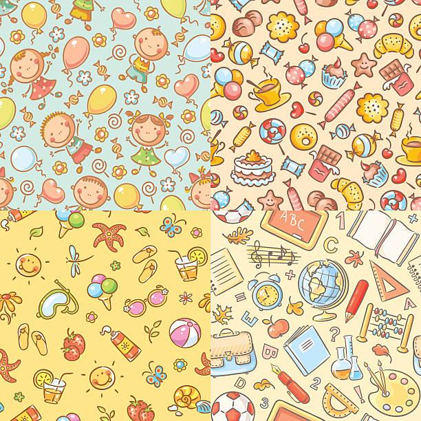 satz von nahtlose bunte muster für kinder - schulbedarfskuchen stock-grafiken, -clipart, -cartoons und -symbole