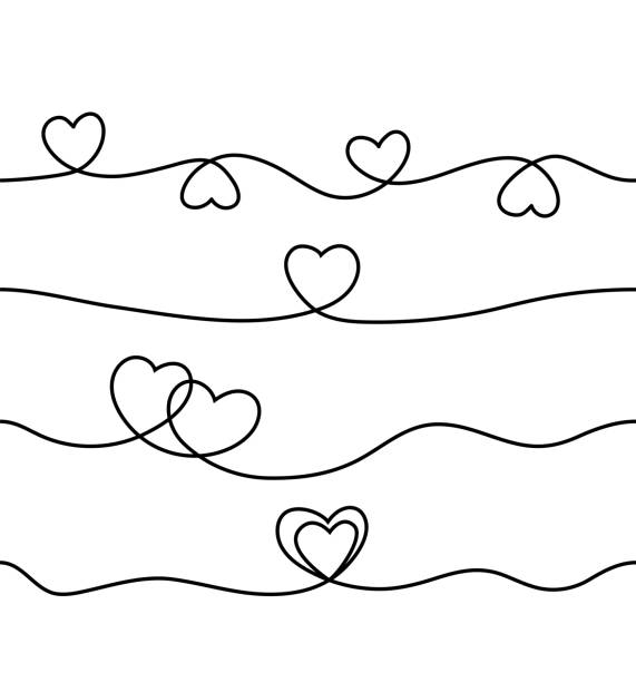 Set of seamless continuous line heart border on white background for valentines, women, mother day greeting invitation graphic design vector art illustration
