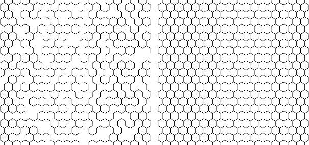 set of  seamless contour  hexagon background