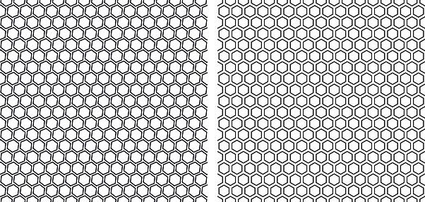 set of  seamless  contour   honeycomb  patterns