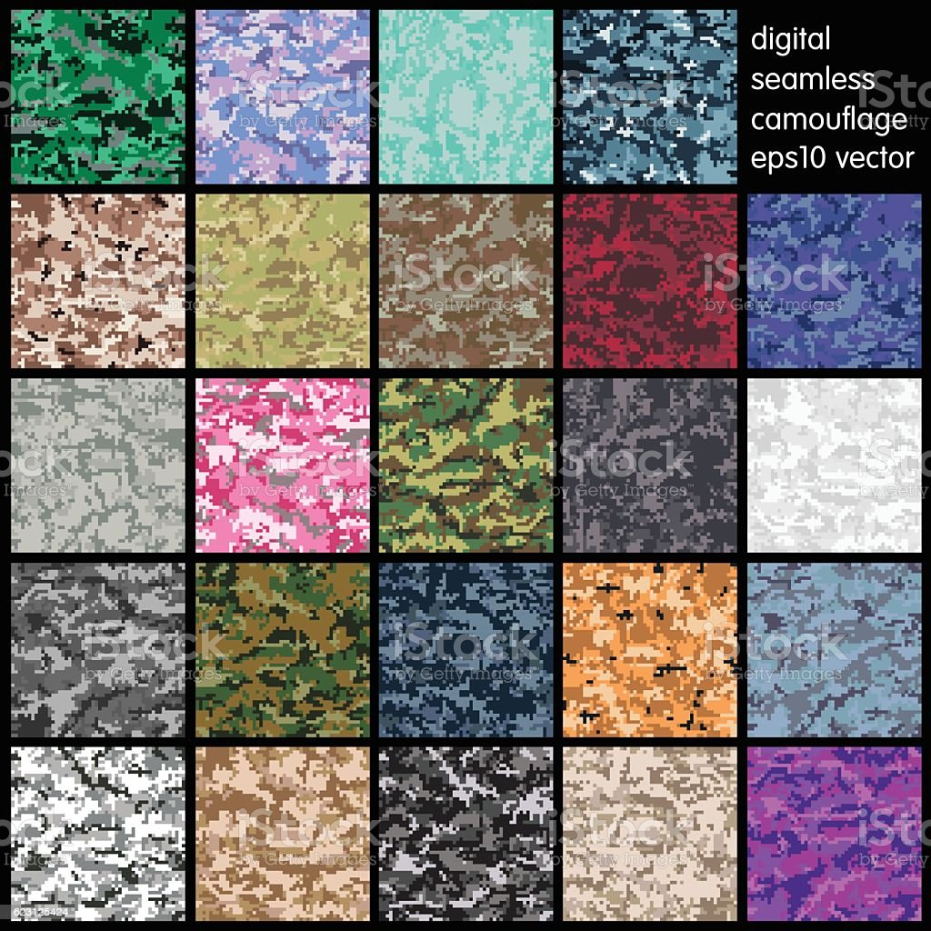 Set of Seamless Digital Camouflage pattern vector vector art illustration