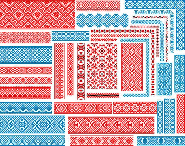 刺繍ステッチのためのシームレスなエスニックパターンのセット - ウクライナ点のイラスト素材/クリップアート素材/マンガ素材/アイコン素材