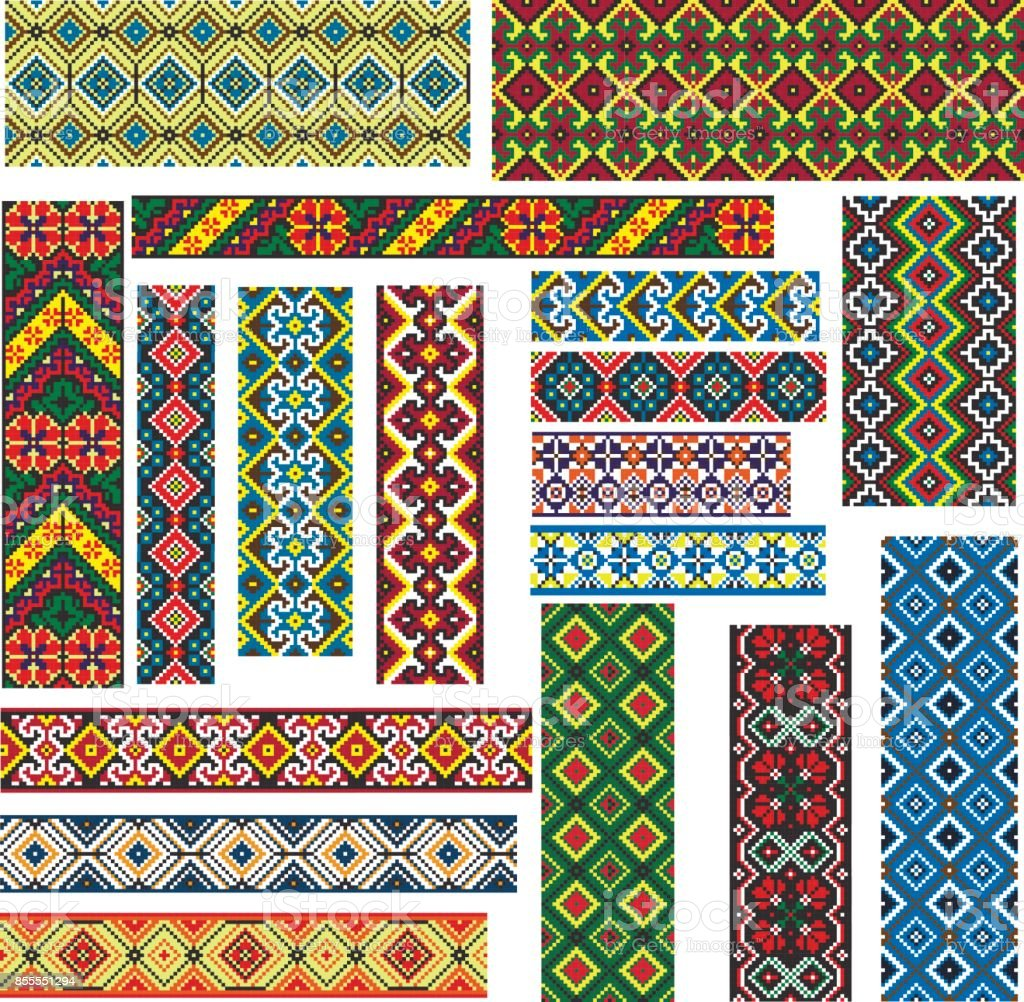 Set of Seamless Ethnic Patterns for Embroidery Stitch vector art illustration