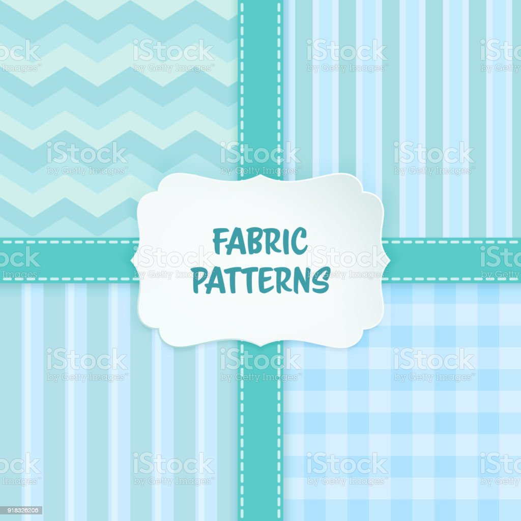 Set Of Seamless Fabric And Geometric Patterns With Tile ...
