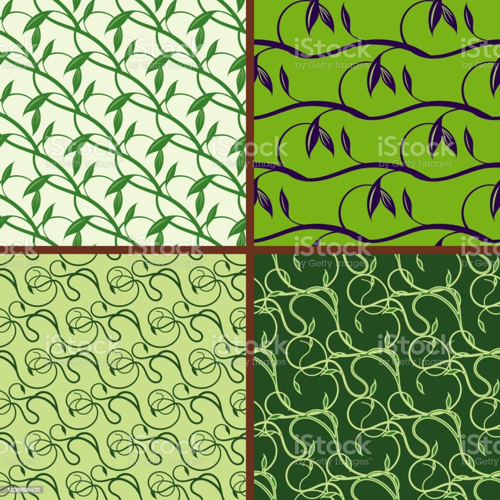 Set of seamless floral pattern. Green spring and summer colors background vector art illustration