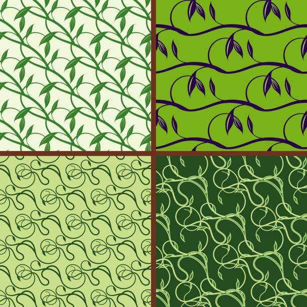 illustrazioni stock, clip art, cartoni animati e icone di tendenza di set of seamless floral pattern. green spring and summer colors background - erba medica