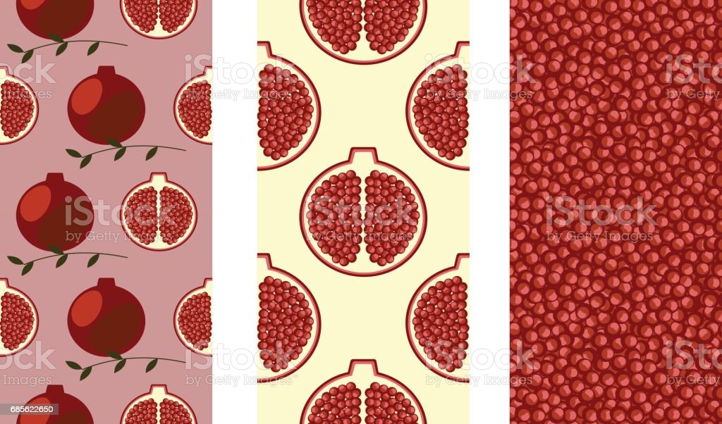 Set of seamless fruits vector pattern, bright colorful background with pomegranates, seeds,  branches with leaves. Graphic illustration. Series of Fruits and Vegetables Seamless Patterns. royalty-free set of seamless fruits vector pattern bright colorful background with pomegranates seeds branches with leaves graphic illustration series of fruits and vegetables seamless patterns stock vector art & more images of art