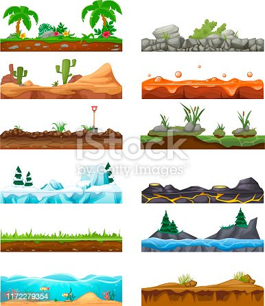 Set seamless game landscape scene, gaming interface for 2D games. Tropical landscape surface with palm trees, desert, snow-covered surface, soil, aquatic environment, rocky and lava. Cartoon vector