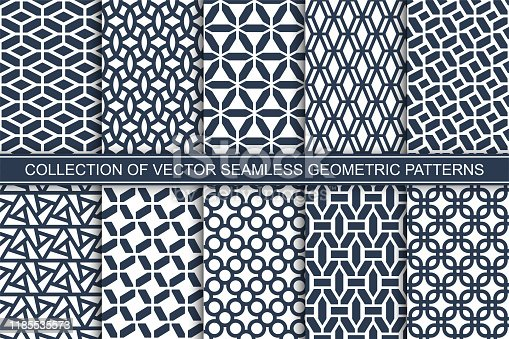 Set of seamless geometric patterns - blue and white symmetric outline textures. Vector repeatable minimalistic backgrounds.