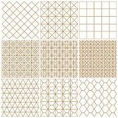 Set of seamless geometric patterns .The lines are brown.