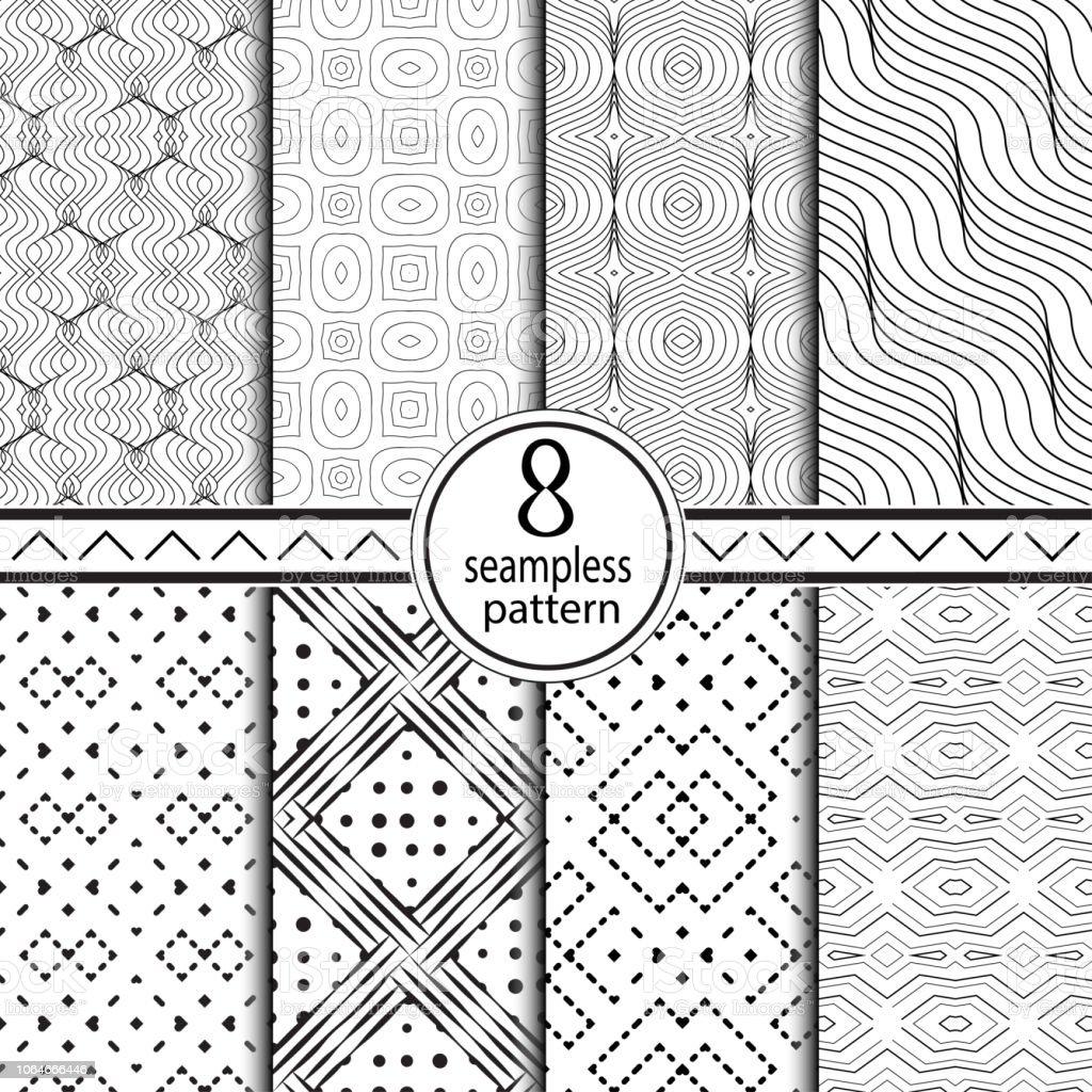 シームレスな幾何学的なパターンのセットです。 ベクターアートイラスト