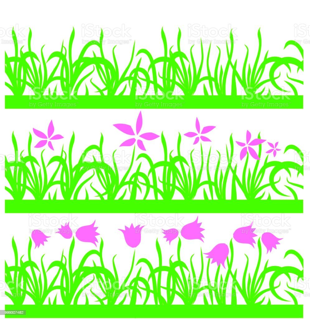 Set Of Seamless Green Grass Pink Flowers Pattern On White