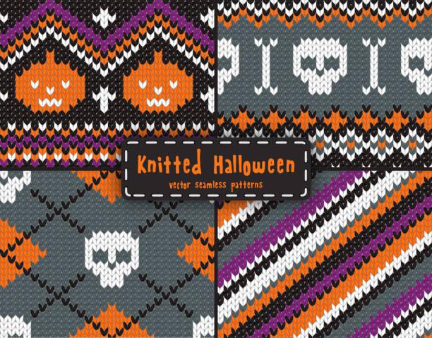 halloween-set von nahtlose muster. - gehäkelte lebensmittel stock-grafiken, -clipart, -cartoons und -symbole