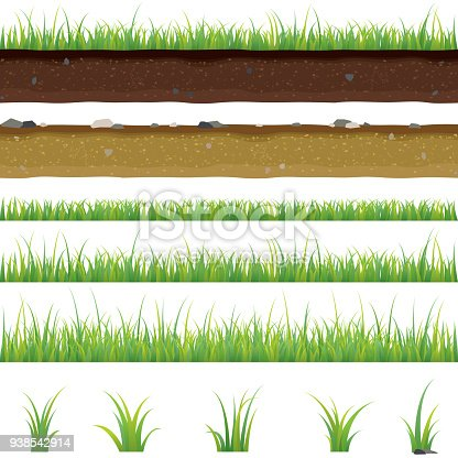 Set of seamless horizontal pattern with green grass and soil on a white background, isolated, lawn, bunches of grass