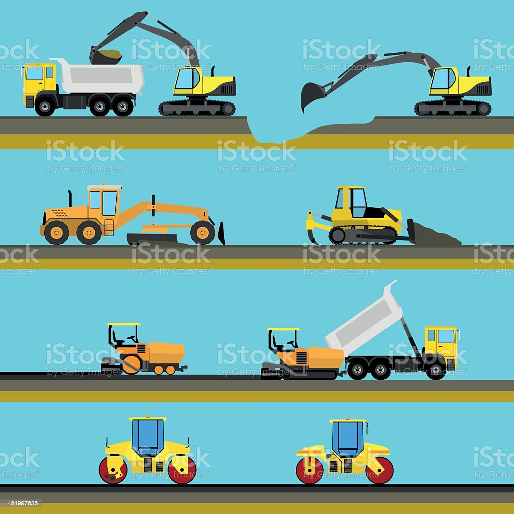 Set of seamless horizontal road construction background vector art illustration